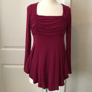 Burgundy Asymmetrical TUNIC
